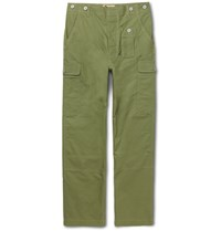 Nigel Cabourn Wide Leg Cotton Ripstop Cargo Trousers Army Green