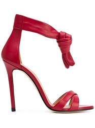 Marc Ellis Knotted Strap Sandals Red