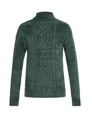 Sies Marjan Rory High Neck Velour Sweater Green
