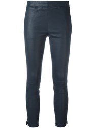 Arma Cropped Leather Trousers Blue