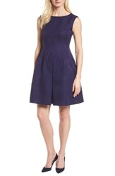 Anne Klein Jacquard Fit And Flare Dress Monaco