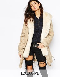Faux London Parka Coat With Faux Fur Lining Creamcream