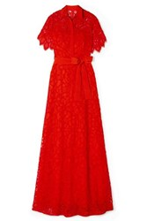 Lela Rose Corded Lace Gown Red