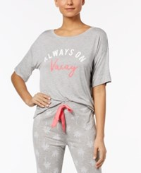 By Jennifer Moore Graphic Print Pajama Top Created For Macy's Sleep Grey Heather