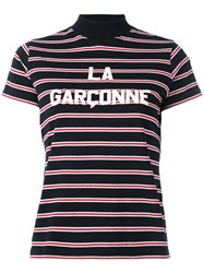 Harmony Paris Printed Stripe T Shirt Women Cotton M Blue