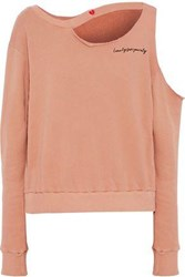 Lna Broken Hearts Cutout Cotton Fleece Sweatshirt Blush