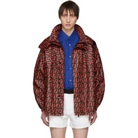 Fendi Red And Black Ff Anorak Jacket