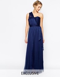 True Decadence Wrap One Shoulder Maxi Prom Dress Navy