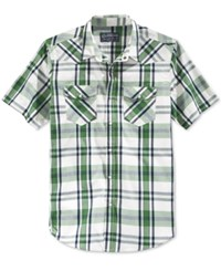American Rag Men's Short Sleeve Plaid Shirt Only At Macy's Agave