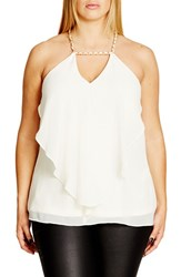 City Chic Plus Size Women's 'Impress' Chain Detail Draped Chiffon Camisole