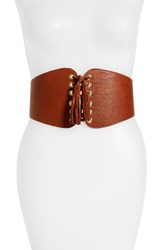 Raina Women's Santiago Leather Corset Belt Cognac