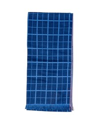 Isaia Double Face Grid Scarf Light Blue
