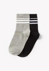 Missguided Grey And Black 2 Pack Striped Sports Socks