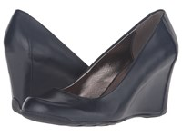 Kenneth Cole Reaction Did U Tell Navy Leather Women's Wedge Shoes Blue