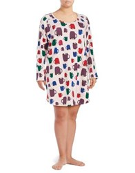 Lord And Taylor Printed Long Sleeve Dress Hot Cocoa
