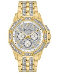 Bulova Men's Crystal Accented Gold Tone Stainless Steel Bracelet Watch 43Mm 98C126 No Color