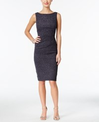 Jessica Howard Petite Ruched Sparkle Sheath Dress Silver