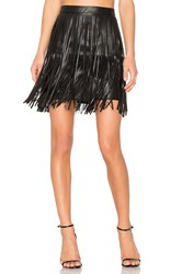 N Philanthropy Clover Fringe Mini Skirt Black