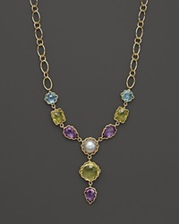 Bloomingdale's Amethyst Blue Topaz Green Quartz And Cultured Mabe Pearl Necklace In 14K Yellow Gold 18 Gold Multi
