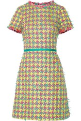 Boutique Moschino Fringed Boucle Tweed Mini Dress Yellow