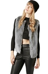 Women's Topshop Faux Fur Gilet Vest Grey
