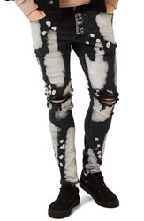 Topman Men's Bleached Ripped Stretch Skinny Fit Jeans