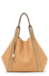 Botkier Baily Reversible Calfskin Leather Tote Brown Sand