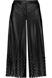 Opening Ceremony Laser Cut Faux Leather Culottes Black