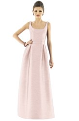 Alfred Sung Scoop Neck Dupioni Full Length Dress Pearl Pink
