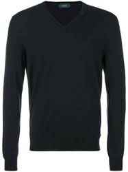 Zanone Slim V Neck Sweater Polyamide Virgin Wool Blue