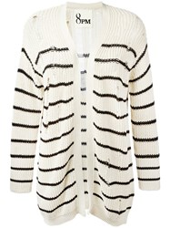 8Pm Distressed Stripe Cardigan Nude Neutrals