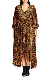 City Chic Plus Size Women's Luxe Leopard Maxi Wrap Dress