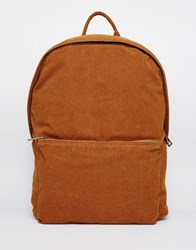 Asos Backpack In Faux Suede Tan