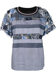 Antonio Marras Embroidered Floral Striped T Shirt Blue