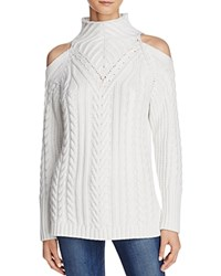 525 America Cable Knit Cold Shoulder Sweater White Cap