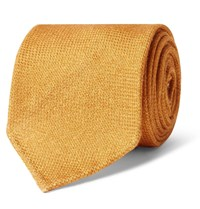 Drakes Drake's 8Cm Wool Silk And Cashmere Blend Tie Yellow