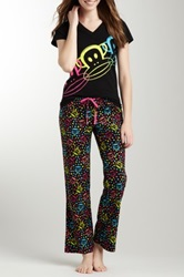 Paul Frank V Neck Black Tee And Pajama Pant Set