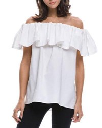 English Factory Off The Shoulder Ruffle Overlay Blouse White