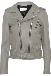 Saint Laurent Leather Biker Jacket Gray