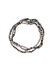 M Cohen M. Beaded Onyx Necklace Silver