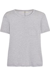 J Brand Gilda Striped Stretch Jersey T Shirt Gray