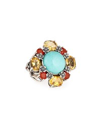 Stephen Dweck Silver Turquoise Agate And Quartz Flower Ring