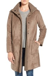 Velvet By Graham And Spencer Women's 'Lux' Reversible Faux Shearling Coat Mink