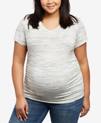 Motherhood Maternity Plus Size V Neck Ruched T Shirt Grey Spacedye