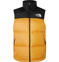 The North Face 1996 Retro Nuptse Colour Block Quilted Shell Down Gilet Yellow