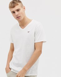 Hollister V Neck Seagull Logo T Shirt In White