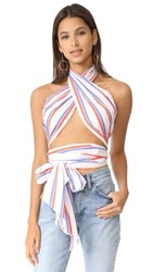 Mds Stripes Everything Scarf Top White Blue Orange Stripe