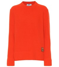 Prada Ribbed Wool And Cashmere Sweater Orange