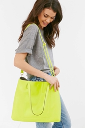 Urban Outfitters Reversible Canvas Vegan Leather Tote Bag Light Green