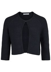 Hugo Feya Cropped Textured Knit Cardigan Navy